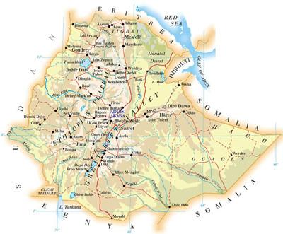 Ethiopia Map - Map of Ethiopia