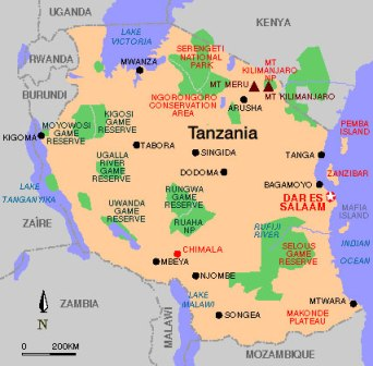 Tanzania travel Map About Tanzania Tanzania location Travelling